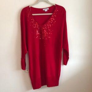 Liz Claiborne red Christmas mini dress /tunic sz l